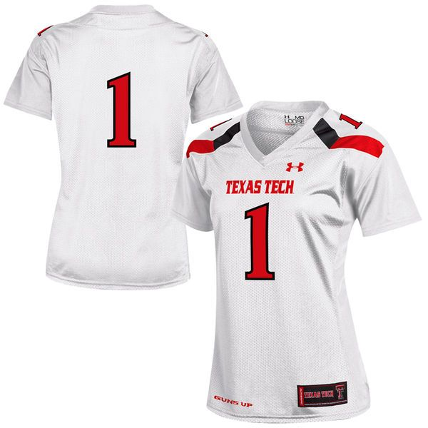 #1 Texas Tech Red Raiders Under Armour Women's Replica Football Jersey - White - $72.99