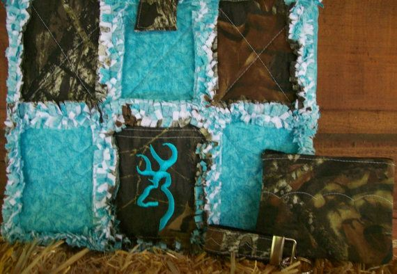 Mossy Oak Camo Turquoise Browning Rag Quilt