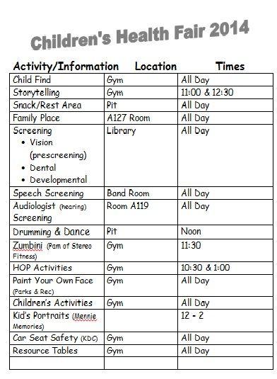 Children's Health Fair 2014 Schedule