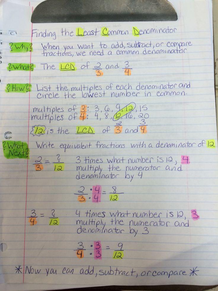 Least Common Denominator Notes Math Teacher Ideas Math