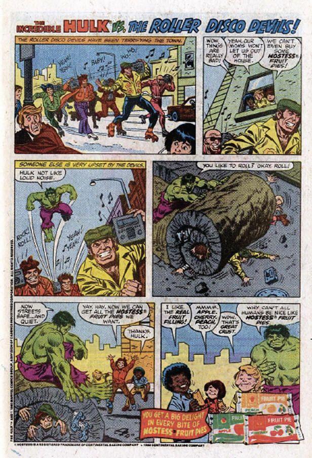Hostess Fruit Pie comic book ad: Incredible Hulk vs The Roller Disco Devils