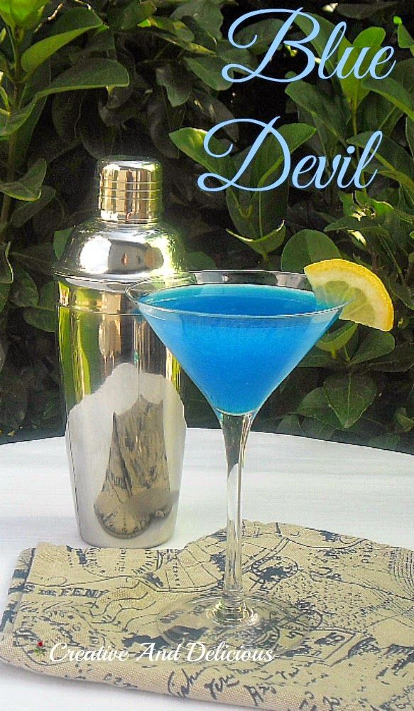 "Refreshing Cocktail ""Blue Devil""  ~  also great with Vodka instead of Gin if you prefer."