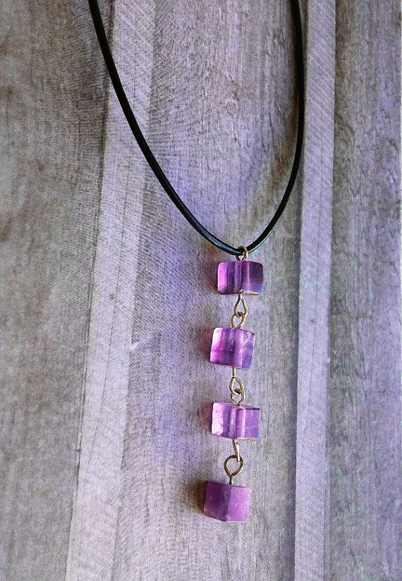 Amethyst cube necklace by Cicadella on Etsy