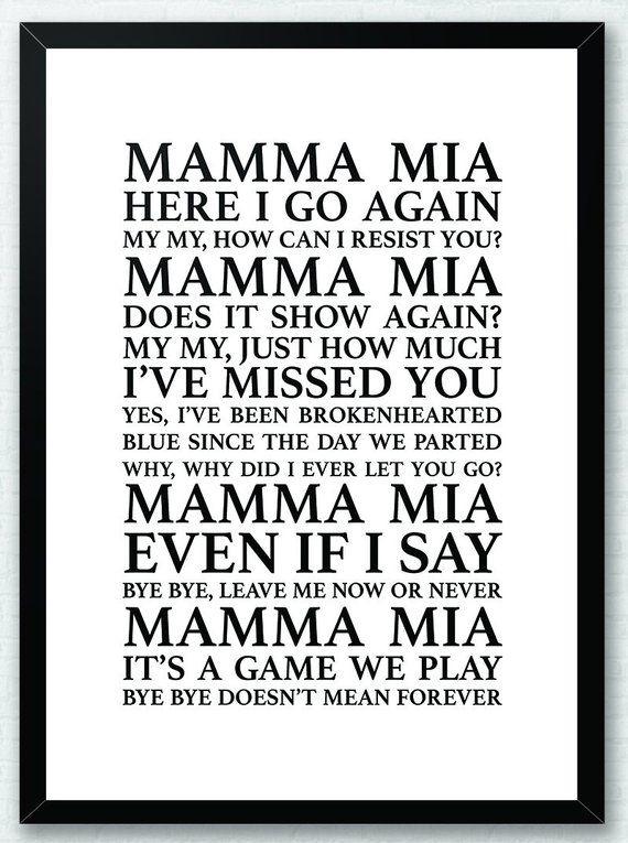 Mama Mia ABBA Song Lyrics Typography Print Poster Artwork