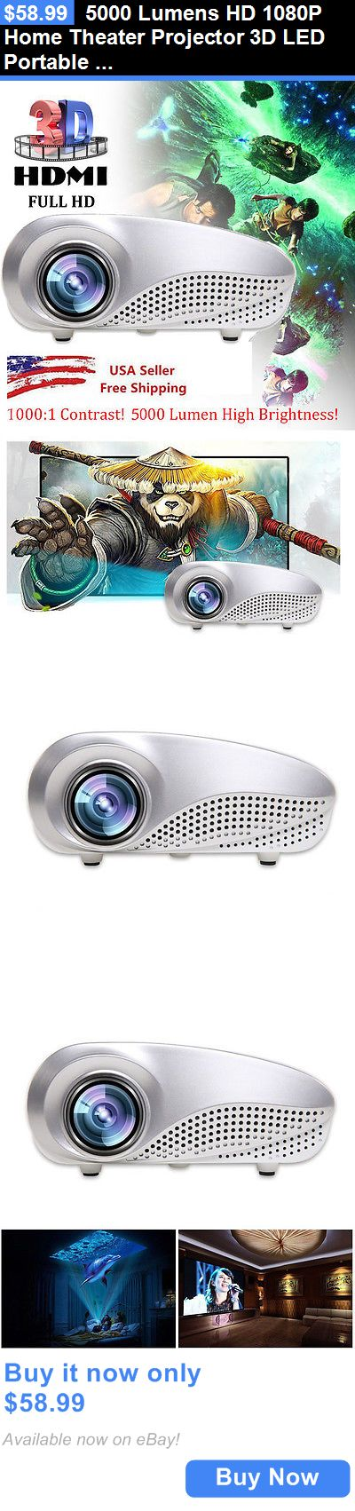 Home Audio: 5000 Lumens Hd 1080P Home Theater Projector 3D Led Portable Sd Hdmi Vga Usb New BUY IT NOW ONLY: $58.99