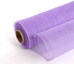 Decor Mesh Netting - Crystal Lavender by Craftyii. $6.99. Durable and great for outdoor use, and still delicate enough for indoors. For an item with body and bounce, look no further. This item great for floral arrangements, wreaths, baskets, home decor and much more. This material will not run.Each roll is 21'' x 10 yards.