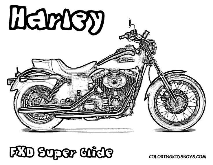 Free Harley Davidson Motocycle Coloring Pages | Harley Davidson FXD Super Glide coloring pages