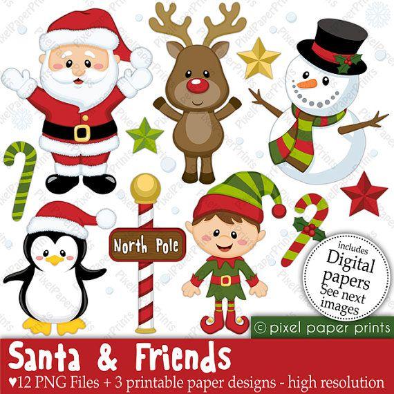 Christmas clipart - Santa and Friends - Clip art and Digital paper set