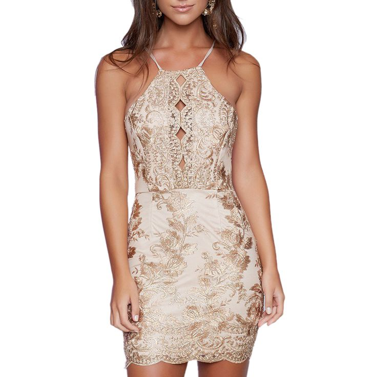 FREE SHIPPING Elegant Dress Embroidery Bodycon Sleeveless Off Shoulder Hollow Out Lace Party Mini Dress JKP290