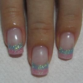 Two tone sparkle French tip manicure- I'd pick different colors, maybe gold and silver