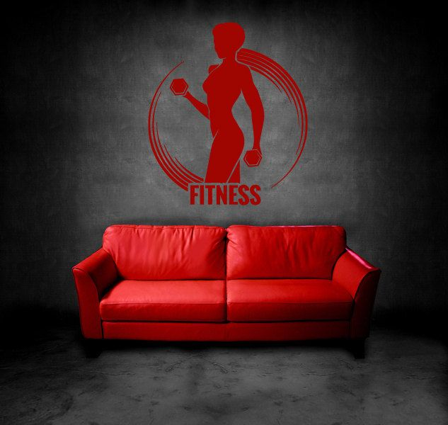Wall Vinyl Sticker Decals Mural Room Design Bedroom cross fit training fitness club work out gym bo2860 by RoomDecalsAndDesigns on Etsy
