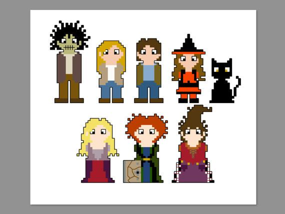 Hocus Pocus Pixel People Character Cross Stitch by CheekySharkLabs, $5.50