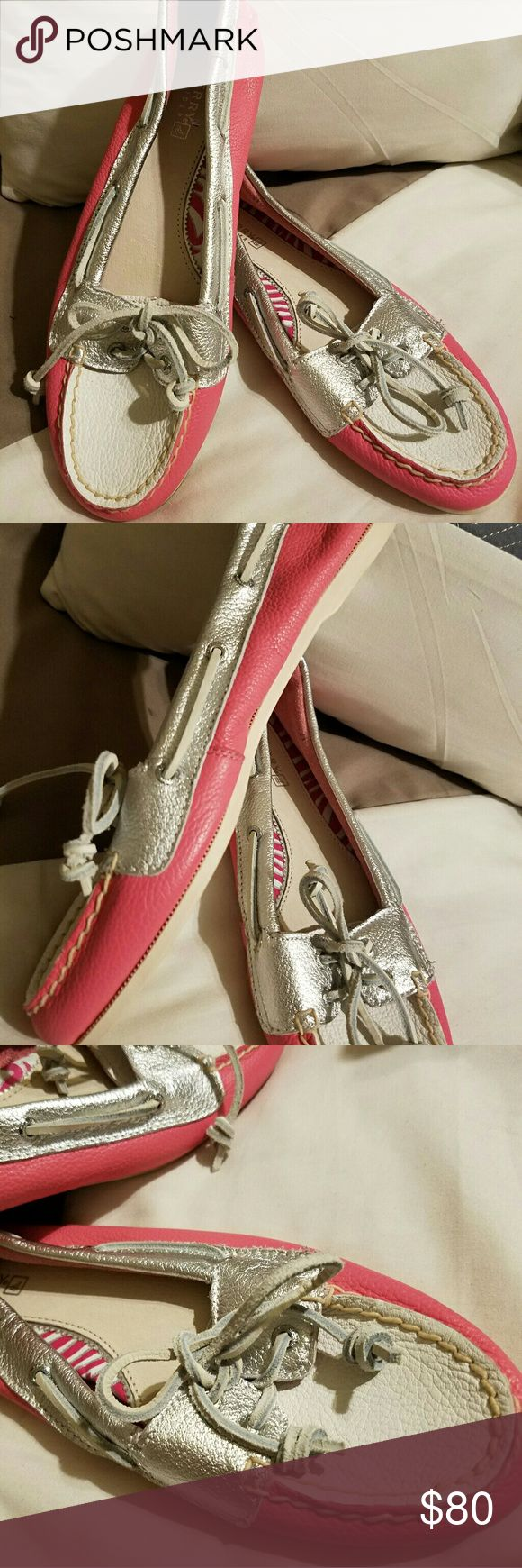 Sperry Top-Siders NWOT White and pink genuine leather loafers. Cushioned insole. Shoes are in excellent condition.  Dirty sole just from where stored. Sperry Top-Sider Shoes Flats & Loafers
