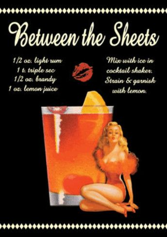 Between the Sheets Drink Recipe Sexy Girl Tin Sign at AllPosters.com