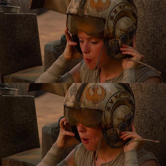 I like this scene when Rey has just licked her metal plate clean, she sees that single silent ship heading off...then she puts this old broken Rebellion helmet on.  Like how she's imagining herself as an old rebel pilot...and this is very reminiscent of Luke gazing at the binary sunset outside his homestead where he's dreaming about joining the academy... We then get the distant shot of Rey sitting, alone and isolated, on the leg of her AT-AT home.