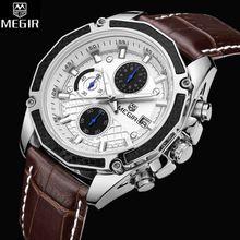 2017 Megir Relojes Hombres Del Reloj De Lujo Famosa Marca Uhr Cronógrafo de Los Hombres Relojes Hombre Reloj Deportivo Reloj de Cuarzo Reloj de Cuero Hombre