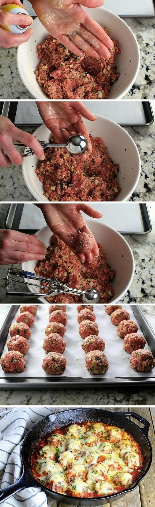 Italian Parmigiana Meatballs. A classic, perfected: meatballs coated in marinara, smothered w/mozzarella & Parmesan cheese. Easy recipe exploding with flavor! http://tasteandsee.com