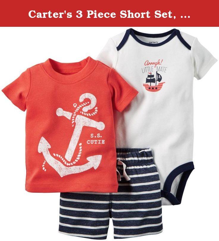 Carter's 3 Piece Short Set, Red/Anchor, 6 Months. Carter's
