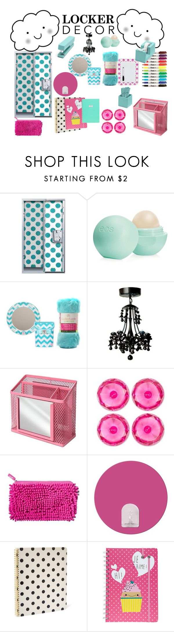 """Locker Decor!"" by sophiatyevs ❤ liked on Polyvore featuring interior, interiors, interior design, home, home decor, interior decorating, Eos, U Brands, Yoobi and RoomMates Decor"