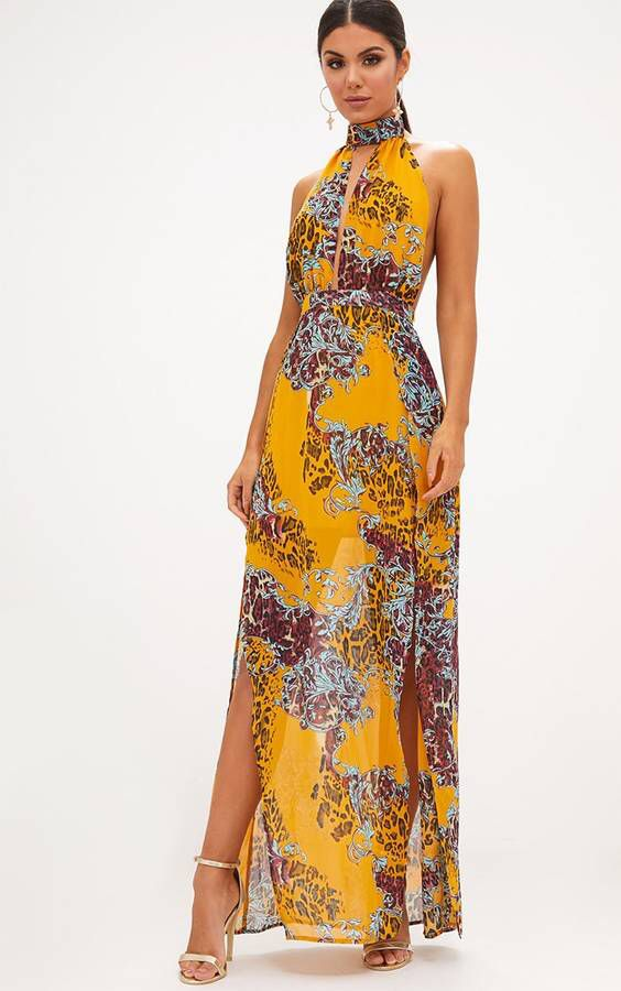 97e9a9b56b Mustard Animal Print Maxi Dress