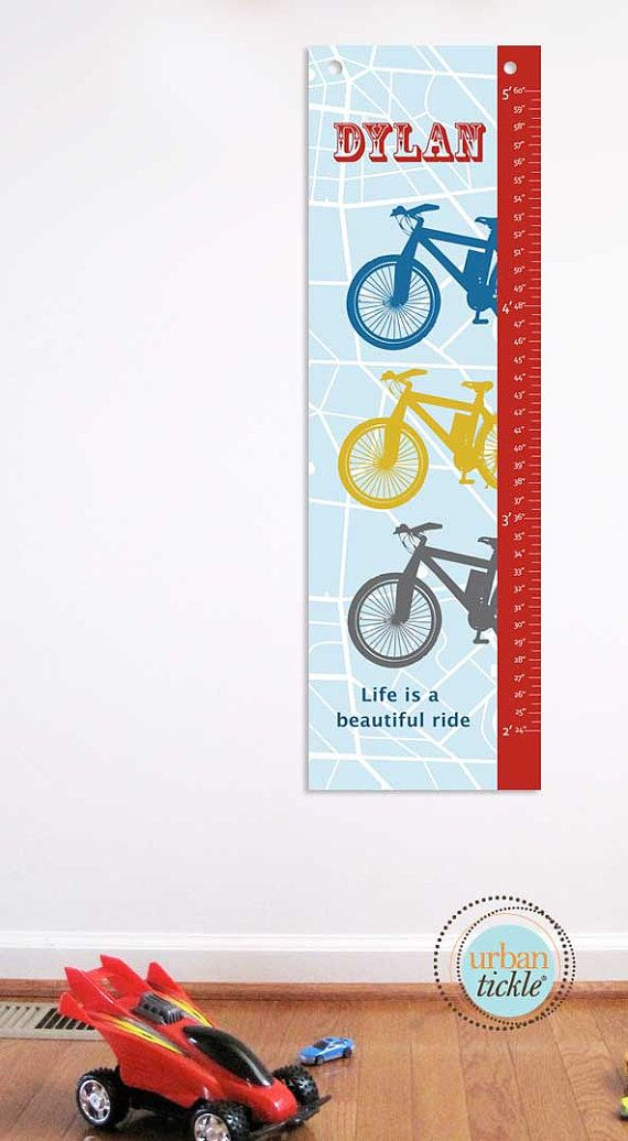"Growth Chart  for Boys,Bicycle Beautiful Ride- 13"" X42"" Inches, Baby Gift, Newborn Gift, Baby Shower Idea. $48.00, via Etsy."