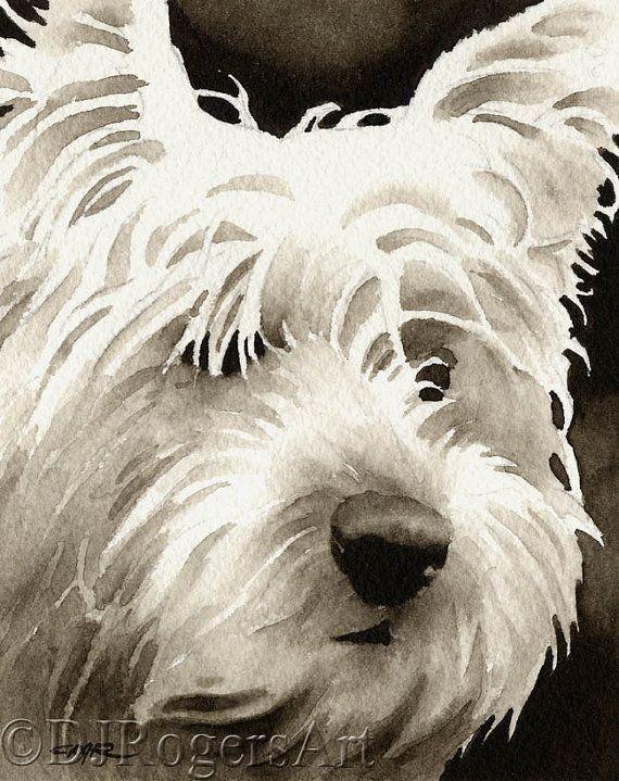 West Highland Terrier Sepia lámina firmada por por k9artgallery