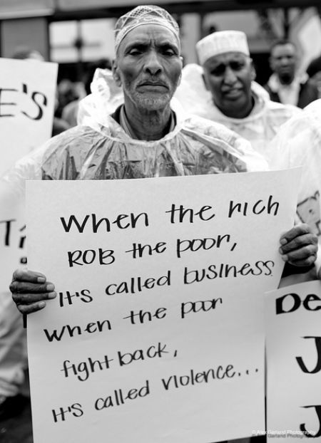 """lelapin:      The Real Difference Between Rich And Poor…    """"when the rich robs the poor it's called business, when the poor fights back it's called violence""""Real Difference, Call Violence, Poor Fight, Inspiration Image, Interesting Thoughts, Double Standards, Rich Deserve, Rich Poor, Call Business"""