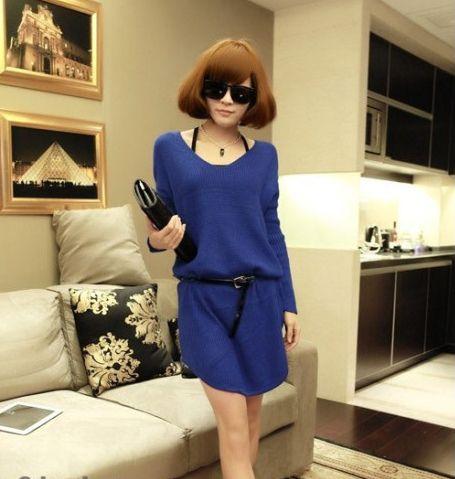 Women's Simple Blue Long Sleeve Dress - 27244013