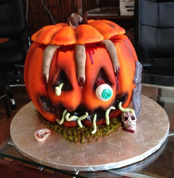 scary halloween cakes ideas jack o' lantern cake worms human fingers