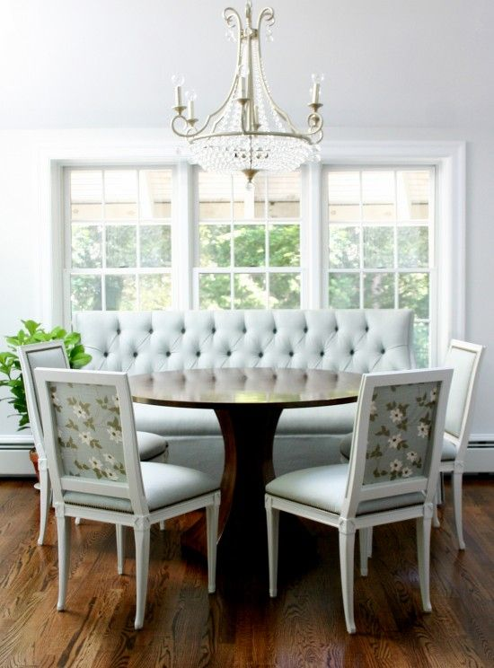 Design Manifest Breakfast room with banquette and pattern backed seats