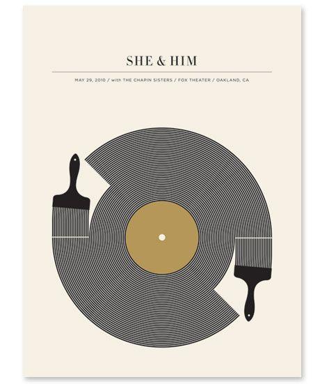 She & Him poster by my favorite poster designer, Jason Munn