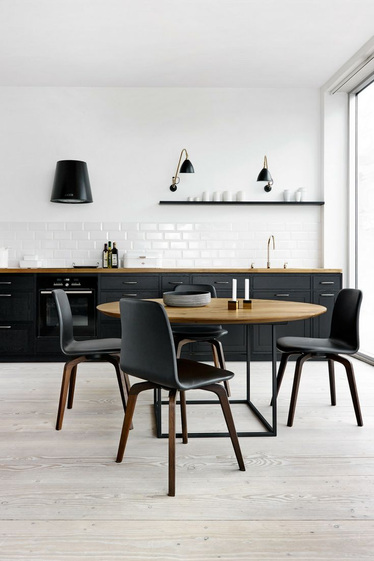 Insel kochinsel kücheninsel schwarz dunkel holz skandinavisch schlict