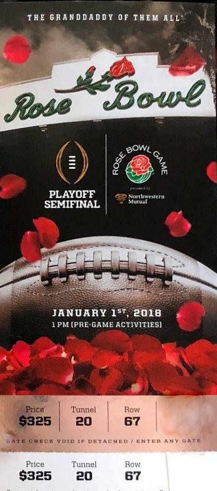 "2018 Rose Bowl Semi Final Playoff Ticket Magnet 2 x 4.5 "" #oklahoma #affiliate"