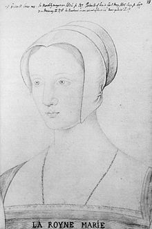 Mary Tudor, Queen of France. A sketch of Mary during her brief period as Queen of France