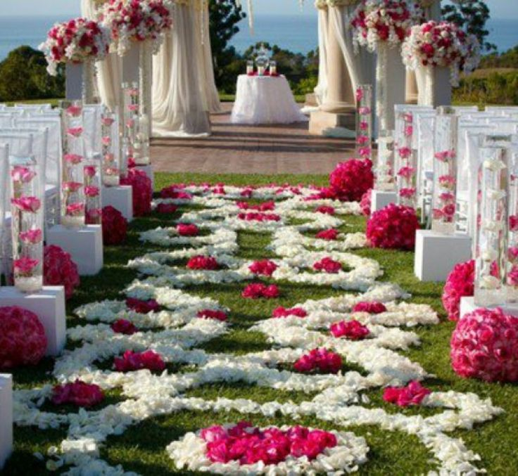 Wedding decoration ideas outdoor unique wedding decorations with wedding decoration ideas outdoor unique wedding decorations with small altar and white covered chairs also flower petals creating the wedding decor junglespirit Choice Image