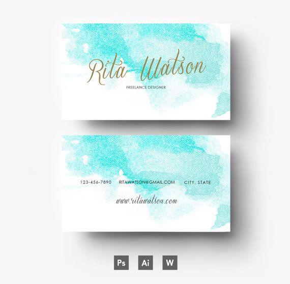 Rita Watson Digital Template - Résumé - Business card - Visiting Card - CV - Blue Gold - Editable PSD File - Fonts Included - Digital Goods