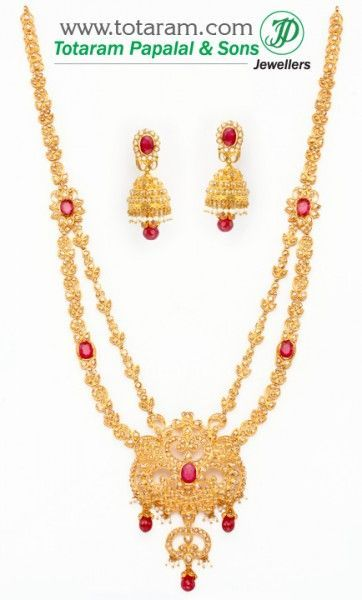 70ef187458 22K Gold Uncut Diamond Necklace & Drop Earrings Set With Ruby & Beads - 235-DS258  - Buy this Latest Indian Gold Jewelry Design in 106.300 Grams for a low ...