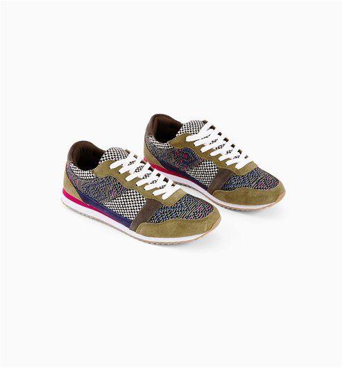 Színes női sportcipő khaki mintás - Promod