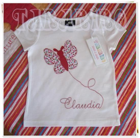 camiseta mariposa personalizada  camiseta de algodón,telas 100% algodón,hilo patchwork,bordado