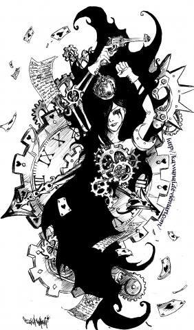 Fait au stylo bille et à l'encre de chine pour le grand aplat noir. j'aime bien les rouages et les grandes horloges anciennes, alors j'ai voulu essayer un dessin avec ...  C'est un dessin sur le thème du coeur, qui peut être finalement considéré comme un simple élément mécanique d'un corps-machine, sur le thème de l'amour, et ce qui peut s'y rapporter, l'attente, l'amour à sens unique aussi... dur à interpréter, j'l'ai dessiné sans savoir moi-même ce qu'il voudrait dire...