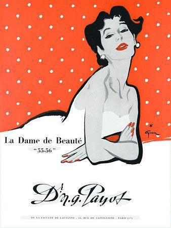 Payot Cosmetics Ad, 1954. Illustration by Rene Gruau.