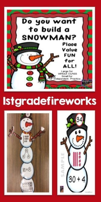 """Place Value Snowmen.Place Value Activity for whole group / small group / independent practice. Snowman """"pieces"""" to create a snowman based on a given value. Snowman HATS have a number. The students """"build"""" the snowman using corresponding units. Uses base-ten blocks, expanded notation, math mountains, & ten-sticks to make numbers. Differentiate based on student needs."""