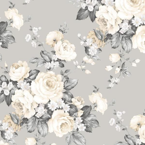 Norwall Grand Floral Vinyl Roll Wallpaper Covers 56 Sq Ft Mh36505 The Home Depot Floral Wallpaper Beige Wallpaper Grey Floral Wallpaper