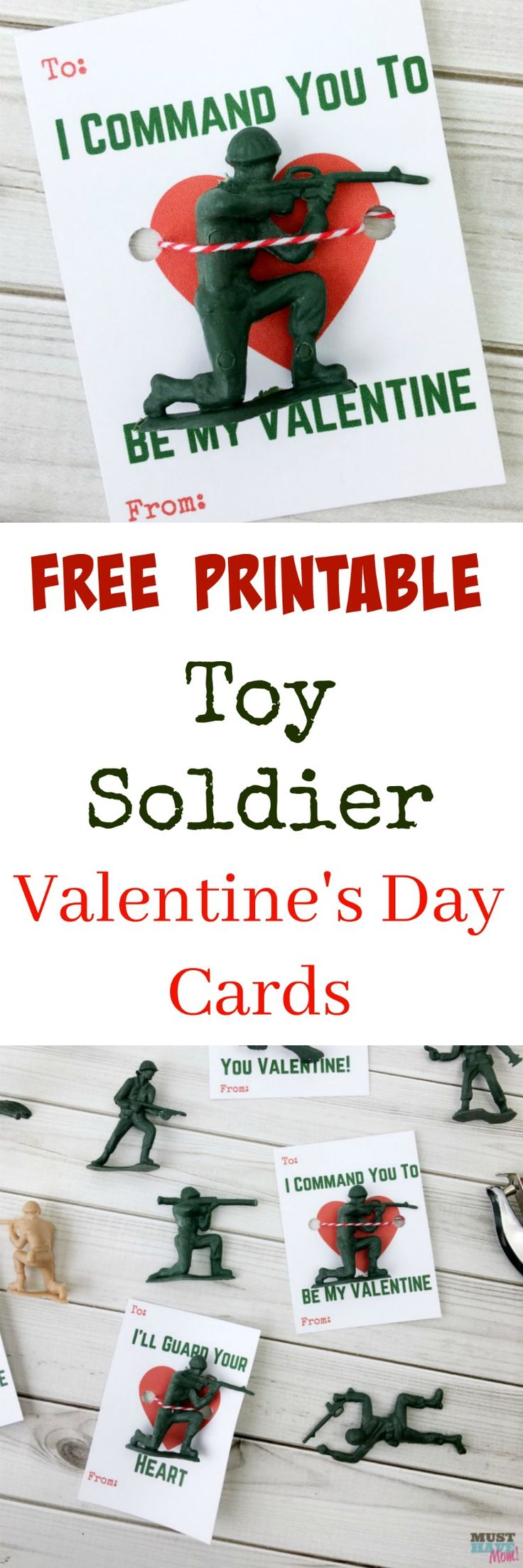 Free printable kids classroom valentine cards with army guys! Grab these army Valentine's Day cards for free now!