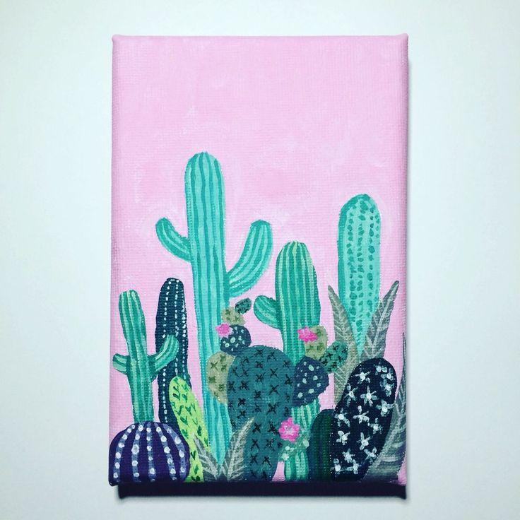 Acrylic cactus painting by Emily Willis More #canvaspaintingacrylic