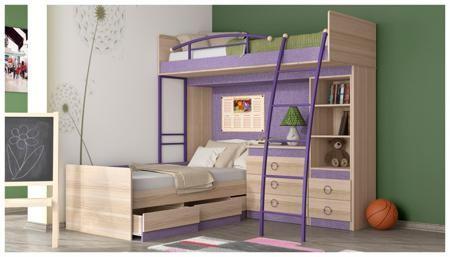 Трия Двухъярусная кровать «индиго» №7 гн-145.007  — 36960р. ---- Спальные места расположены в этом комплекте максимально компактно. Верхний ярус — кровать-чердак оригинальной конструкции — оставляет под собой место для размещения второй удобной кровати и другой мебели, которая понадобится для размещения детских вещей, белья, игрушек и книг. Используя другие модули из этой же серии, вы сможете обставить детскую комнату с учётом её максимального комфорта и функциональности.  Гарантийный срок…