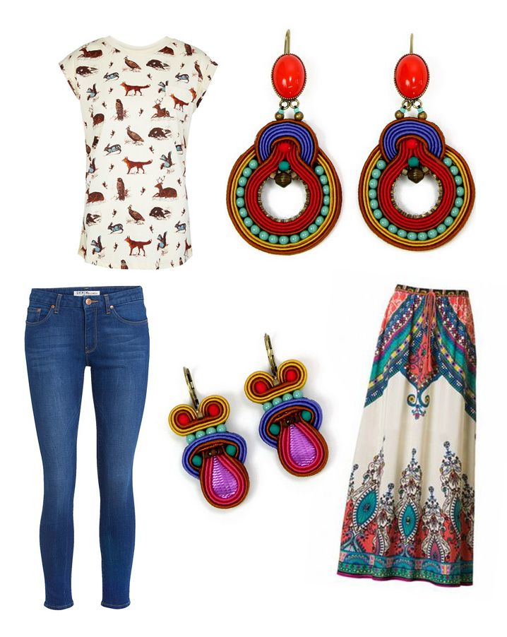 Who knew cute animals, Aztec pattern and Dori's colorful earrings could look so perfect together? #DoriCsengeri #ss2015 #aztec #prints #trend #accessories #styling