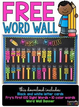 To download the editable version of this product, Click Here!This free word wall is colorful, simple, and perfect for back-to-school! This download includes:- Word Wall Banner- Alphabet Letter Cards- Fry's First 100 Sight Word Cards- 10 Color Word Cards