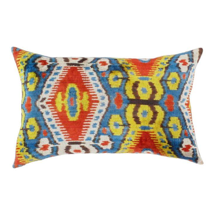 Pasargad Oasis Collection Silk Velvet Ikat Pillow