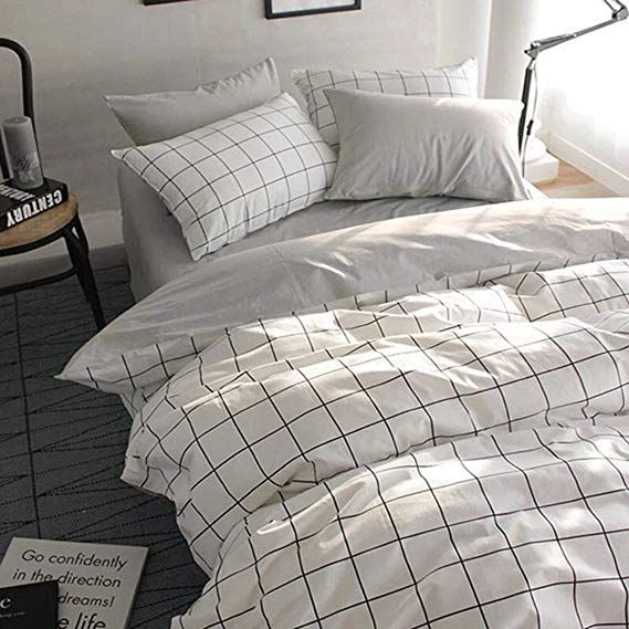 Vclife Kids Twin Bedding Sets Cotton Checkered Duvet Cover Sets 3 Pcs Bedding Collection Grey White Marble Duvet Cover White Duvet Covers Queen Bedding Sets